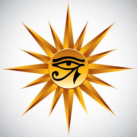 ojo de horus: El ojo de Ra símbolo vector.