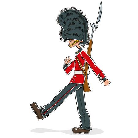 British guard cartoon, vector illustration.