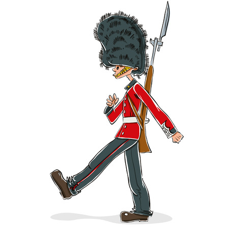 bearskin: British guard cartoon, vector illustration.