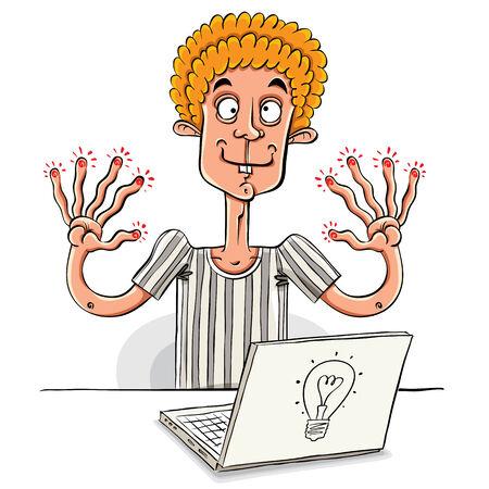Teen boy in front of note book tired of work, vector cartoon. Vector
