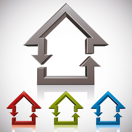 house icon: Home and reload icons combined, vector symbol.
