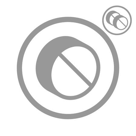 simplistic icon: Simplistic single color pill icon, vector.