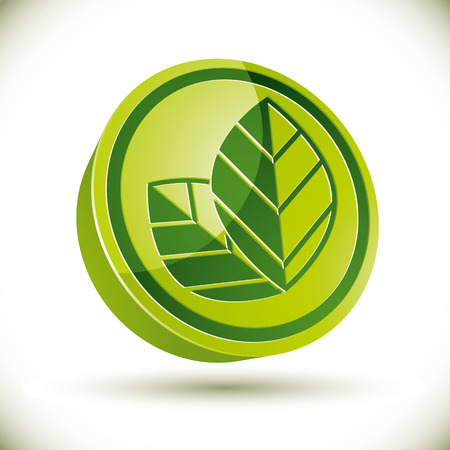 gm: 3d eco icon with leaves, vector.