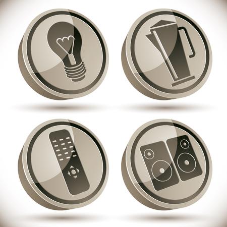 tv remote: Бытовая техника набор иконок, лампочка, чайник, телевизор пульт дистанционного управления, звуковые колонки, 3D векторных иконок.
