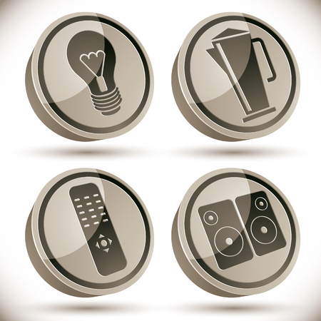 tv remote: Household appliances icons set, light bulb, teapot, tv remote control, speakers, 3d vector icons.