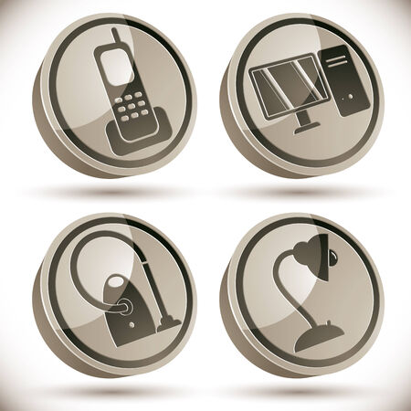 table lamp: Household appliances icons set, telephone, pc computer, vacuum cleaner, table lamp, 3d vector icons.