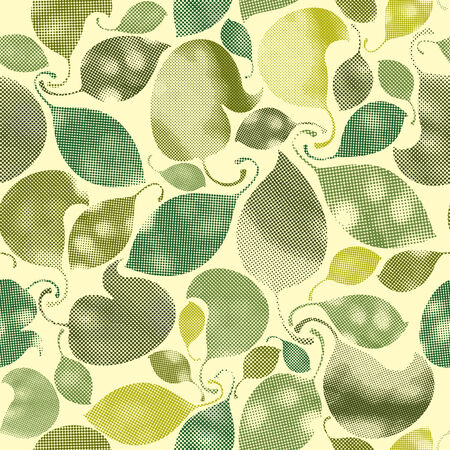 Seamless leaves pattern, stylized ornamental background with print pixels texture. Vector