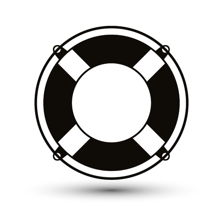 Life belt simplistic single color icon. 免版税图像 - 32660713