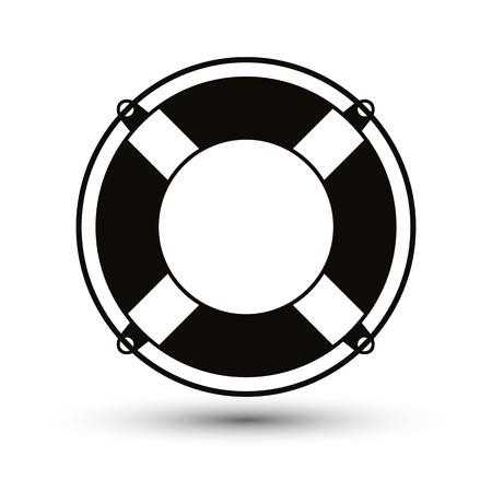 Life belt simplistic single color icon. Vector