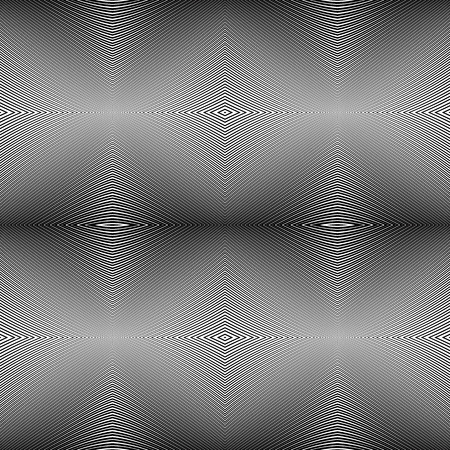 Abstract lines geometric seamless pattern with optical illusion. Vector