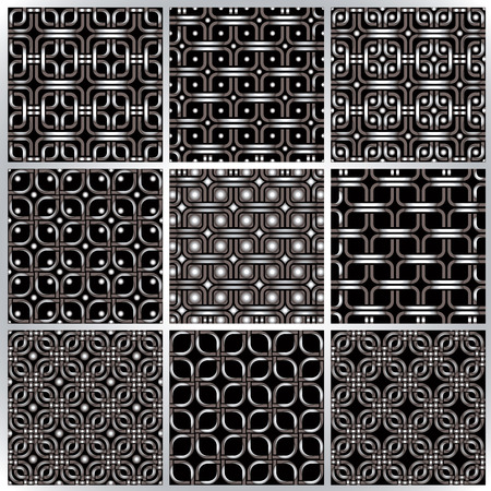 Metal netting seamless patterns set. Vector netting backgrounds collection. Vector