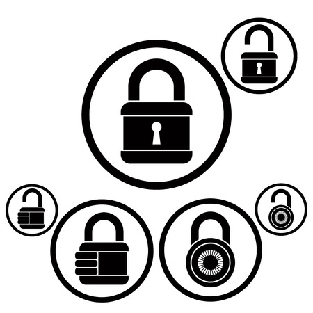 lock: Lock icons set, open and closed versions, vector.