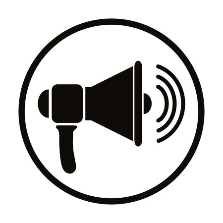 public speaker: Loudspeaker icon, vector simplistic symbol. Illustration