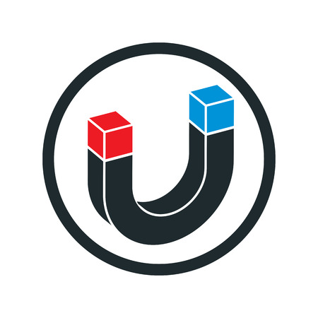 dime: Horseshoe magnet vector icon. Illustration