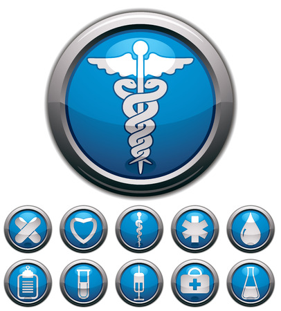 Medical icons set, vectors collection. Çizim