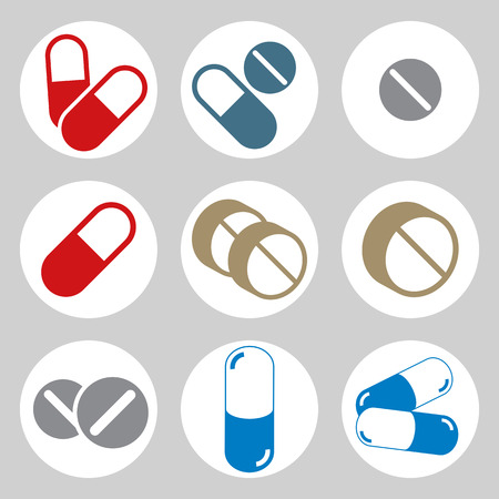 pictogramme: Medical pills icons set, vector.