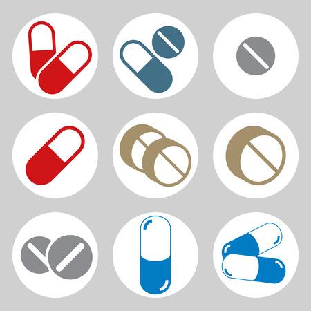 pills: Medical pills icons set, vector.