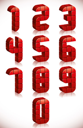 Red 3d numbers set made in digital style, vector.