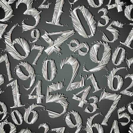 Monochrome graphic stylized numbers seamless pattern, vector background. Numbers easy to use separately. Vector