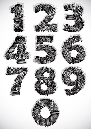 Sketchy numbers set, vector. Vector