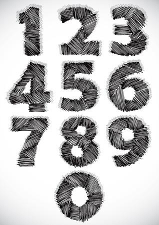 Sketchy numbers set, vector. Vector
