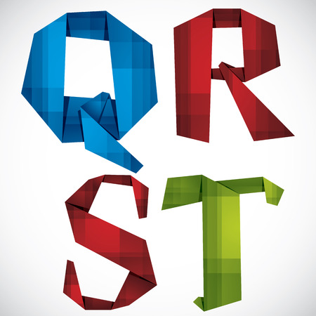 Origami style font, colorful vector letters Q R S T.