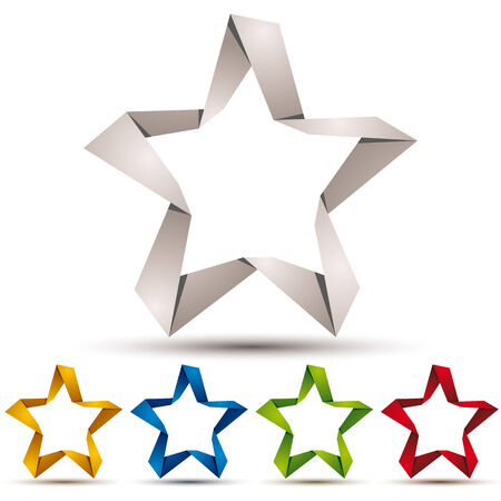 pictogramme: Origami style star icon, color versions vector set.