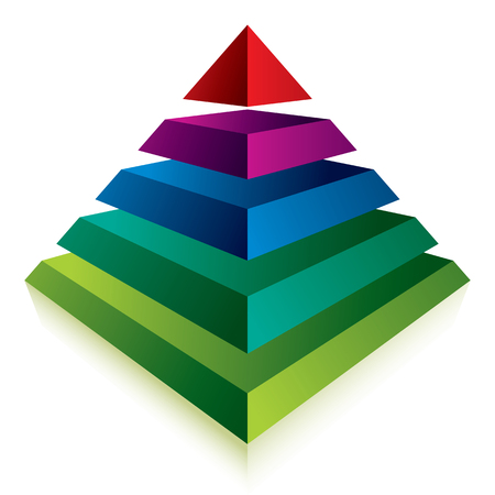 pyramid: Pyramid icon with five layers, vector business concept icon.