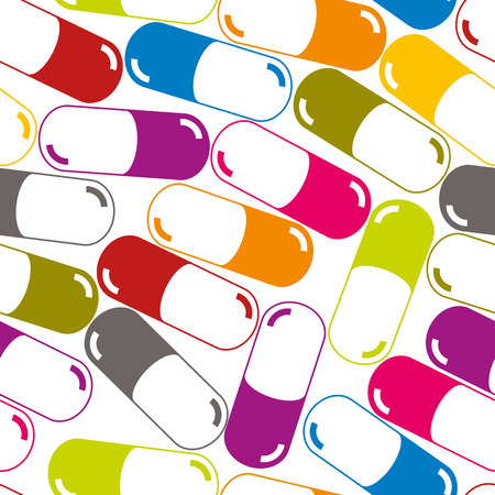 Medical capsules seamless pattern, medicine vector background. Vector