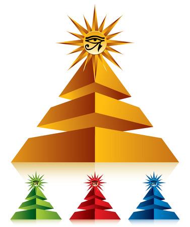 ojo de horus: Pirámide con el ojo de Ra en el símbolo, icono del vector de la parte superior. Vectores