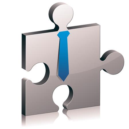 Puzzle piece with tie vector icon. Illustration