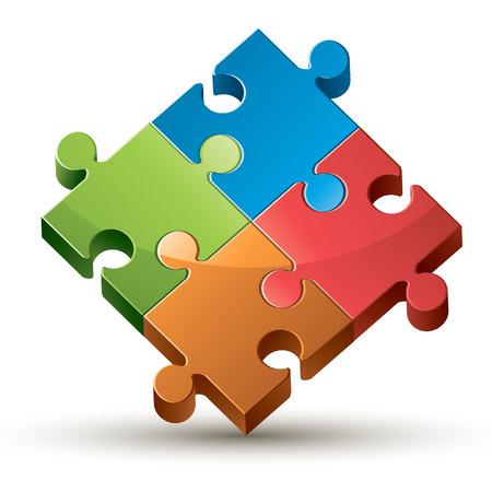 jig saw: Colorful shiny puzzle vector illustration. Illustration