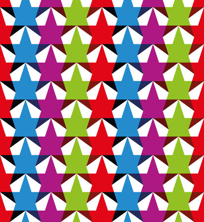 Color stars seamless pattern, vector background. Illustration