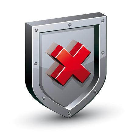 an antivirus: Security shield with warning x symbol, web safety icon, antivirus, vector illustration.