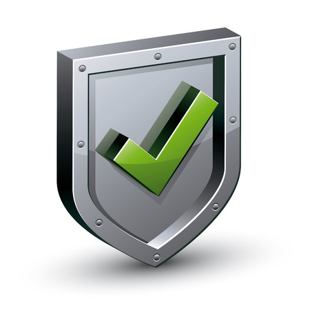 an antivirus: Security shield with yes tick symbol icon, web safety, antivirus, vector illustration.