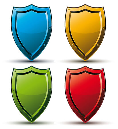 Shield vector icon, color set. Illustration
