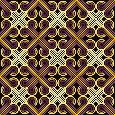 simplistic: Vintage tiles with curly and crossed lines seamless pattern, vector background. Illustration