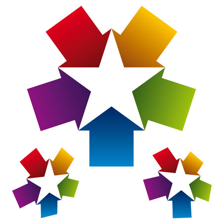 five star: Star icon created with five arrows, vector.