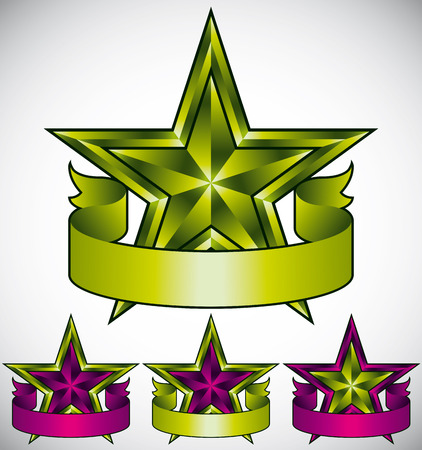 Green star label with blank banner, vector design. Vector