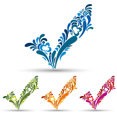 pictogramme: Floral check mark tick vector, color set.