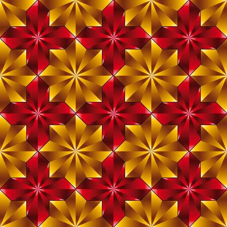 warped: Vintage tiles seamless pattern, star shaped tiles, vector background.