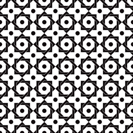 octagonal: Vintage star shaped tiles seamless pattern, monochrome vector background.