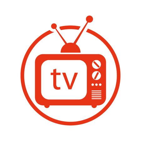Retro tv set vector icon. Stock Illustratie