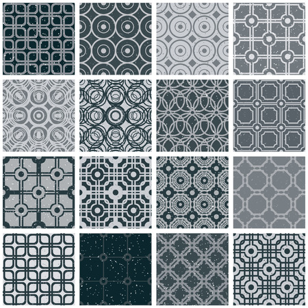 secession: Retro tiles seamless patterns, monochrome vector backgrounds set. Illustration
