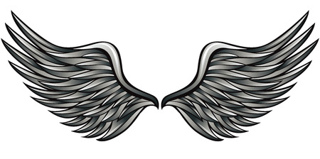holy angel: Silver wings vector illustration. Heraldry style.