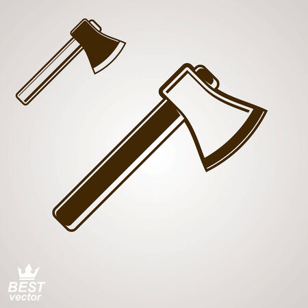 industrial design: Graphic manufacture instrument, classic vector realistic axe, includes simple additional version. Web industrial design element, engineer icon.