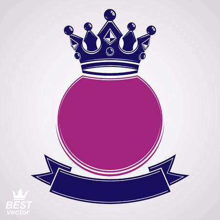 queen crown: Vector círculo con 3d corona real decorativos y cinta festiva, capa de lujo de las armas. Símbolo heráldico corona, mejor para el diseño gráfico y web. Vectores