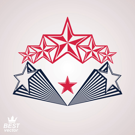 glorious: Vector stylized corporate brand 3d symbol. Web and graphic glorious design emblem with five pentagonal stars – detailed clear eps8 icon.