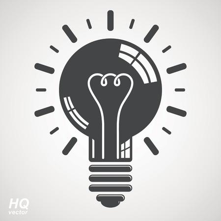 brain storm: Electricity light bulb symbol isolated on white background. Vector brain storm conceptual icon - corporate problem solution theme. Business idea design element. Graphic web insight emblem. Illustration