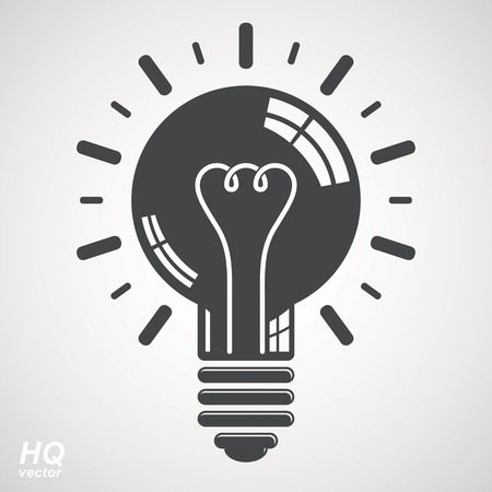 Electricity light bulb symbol isolated on white background. Vector brain storm conceptual icon - corporate problem solution theme. Business idea design element. Graphic web insight emblem. Vectores